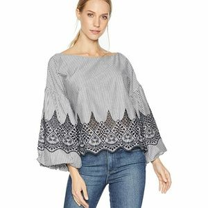 BCBGMaxAzria | Puff sleeve embroidered top